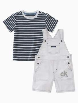 Calvin Klein boys 2-piece striped t-shirt + logo overalls set