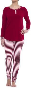 Isaac Mizrahi Weekend Striped Henley with Printed Leggings Pajamas - Long Sleeve (For Woman)