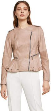 BCBGMAXAZRIA Valentina Leather Peplum Jacket