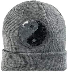 Mudd Women's Reversible Yin Yang & Peace Sign Sequin Patch Beanie
