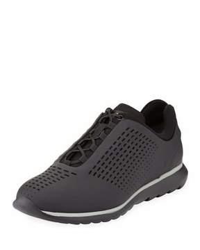 Ermenegildo Zegna Techmerino Rubberized Sneaker, Black