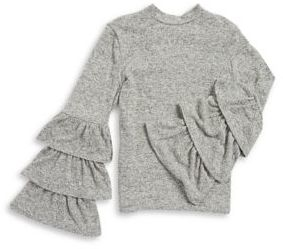 Soprano Girl's Tiered Sleeve Heathered Top