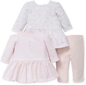 Little Me 3-Pc. Cotton Floral Dresses & Leggings Set, Baby Girls (0-24 months)