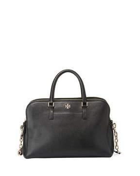 Tory Burch Georgia Pebbled Leather Satchel Bag - BLACK - STYLE