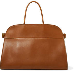 The Row Margaux 17 Buckled Leather Tote - Brown
