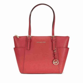Michael Kors Jet Set Top-Zip Saffiano Leather Tote Burnt Red - Medium - ONE COLOR - STYLE