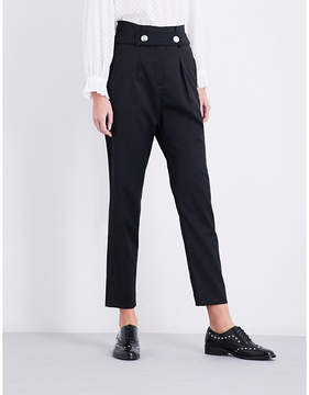 Claudie Pierlot High-rise tapered twill trousers