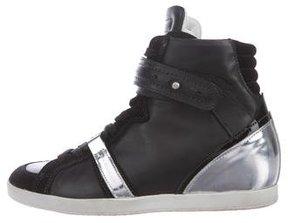 Barbara Bui Leather High-Top Sneakers