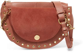 See by Chloe Kriss Small Eyelet-embellished Textured-leather And Suede Shoulder Bag - Antique rose