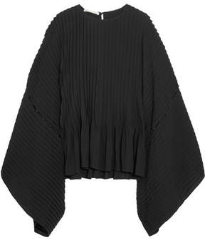 Antonio Berardi Button-detailed Pleated Crepe Top - Black