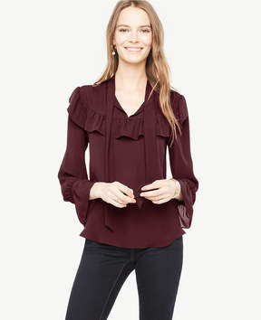 Ann Taylor Tall Ruffle Tie Neck Blouse
