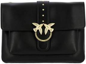 Pinko Crossbody Bags Love Bag Big Love Simply Shoulder Bag In Leather With Maxi Metal Buckle