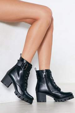 Nasty Gal What the Actual Buckle Vegan Leather Boot