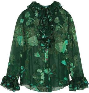 Anna Sui Iridescent Moonlight Garden Fil Coupé Silk-blend Chiffon Blouse - Green