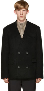 Robert Geller Black Textured Double-Breasted Blazer