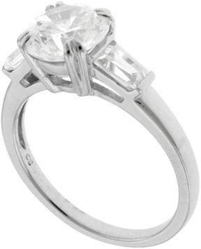 Crislu Prong Set Round a& Baguette Cut 3 Stone CZ Cocktail Ring