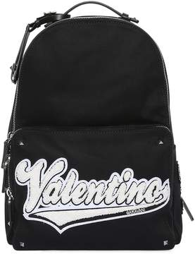 Valentino Terrycloth Logo Patch Canvas Backpack