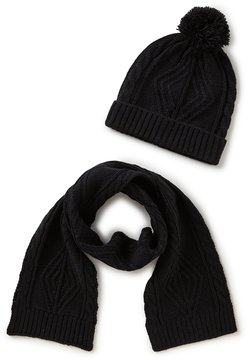 Class Club Cable-Knit Pom Hat & Scarf Set