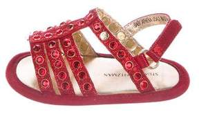 Stuart Weitzman Girls' Suede Embellished Sandals