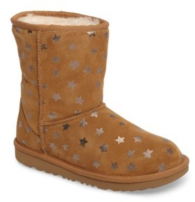 UGG Girl's Classic Short Ii Water-Resistant Genuine Shearling Stars Boot