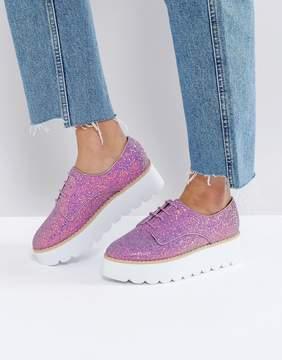 Asos MISFIT Chunky Glitter Flat Shoes