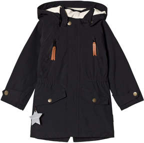 Mini A Ture Black Waterproof Longline Parker Jacket