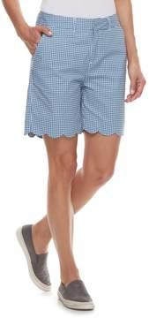 Caribbean Joe Women's Print Scallop-Hem Bermuda Shorts