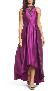 Adrianna Papell Women's Embellished Mikado High/low Gown
