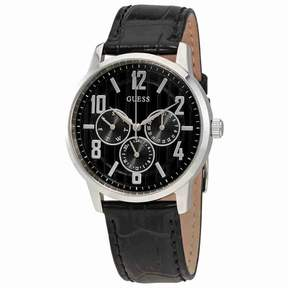 GUESS Black Dial Men's Multifunction Leather Watch W0604G1