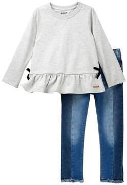 Hudson Slub Jersey Top & Jeans 2-Piece Set (Toddler Girls)