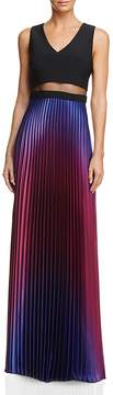 Aqua Pleated Illusion Waist Gown - 100% Exclusive