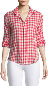 Frank And Eileen Barry Button-Front Check Linen Shirt
