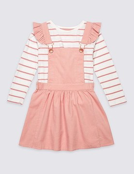 Marks and Spencer 2 Piece Pure Cotton Top & Pinafore Outfit (3 Months - 5 Years)