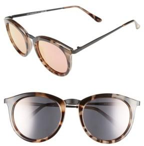 Le Specs Women's 'No Smirking' 50Mm Round Sunglasses - Volcanic Tortoise/ Black