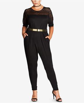 City Chic Trendy Plus Size Lace-Trim Jumpsuit