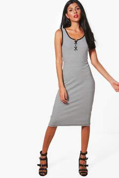 boohoo Jodie Lace Up Detail Striped Ribbed Dress