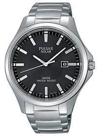Pulsar Men's Solar Stainless Steel Dress Watch