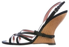 Alaia Satin Bow-Accented Wedges