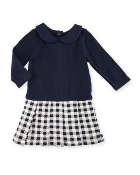 Petit Bateau Long-Sleeve Dress w/ Checkered Skirt, Size 3-36 Months