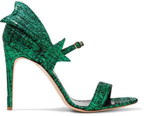 Rupert Sanderson Starfire Metallic Textured-leather Sandals - Green