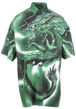 Balenciaga Men's Green Cotton Shirt.