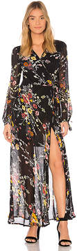 Band of Gypsies Abstract Floral Bouquet Wrap Dress