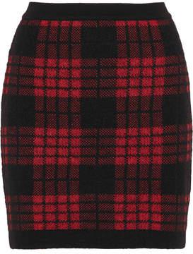 Balmain Tartan Jacquard-knit Mini Skirt - Red