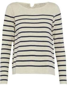 Autumn Cashmere Lace-Up Striped Stretch-Cotton Top