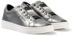 Tommy Hilfiger Silver Metallic and Glitter Slip On Trainers