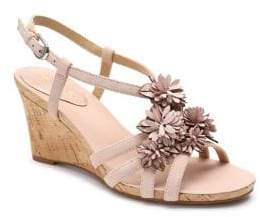 Tahari Favor Floral Suede Wedge Sandals