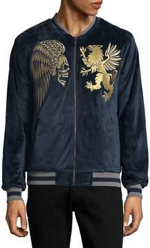 Hyden Yoo Men's Embroidered Velvet Jacket - Navy, Size xxx-large