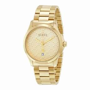 Gucci G-timeless Yellow Gold Diamond Pattern Dial Unisex Watch YA126461