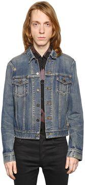 Oversized Repaired Cotton Denim Jacket