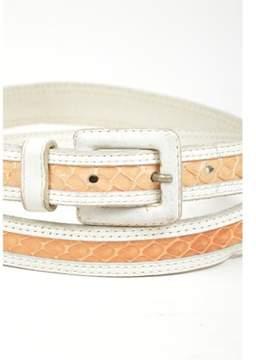 Saint Laurent Pre-owned ¿vintage White Tan Snakeskin Skinny Belt Sz L.